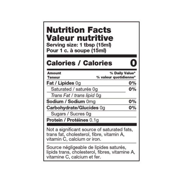 apple cider vinegar nutritional table