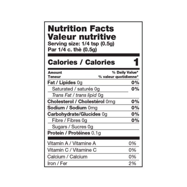black peppercorns nutritional table