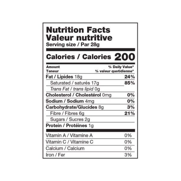 coconut nutritional table