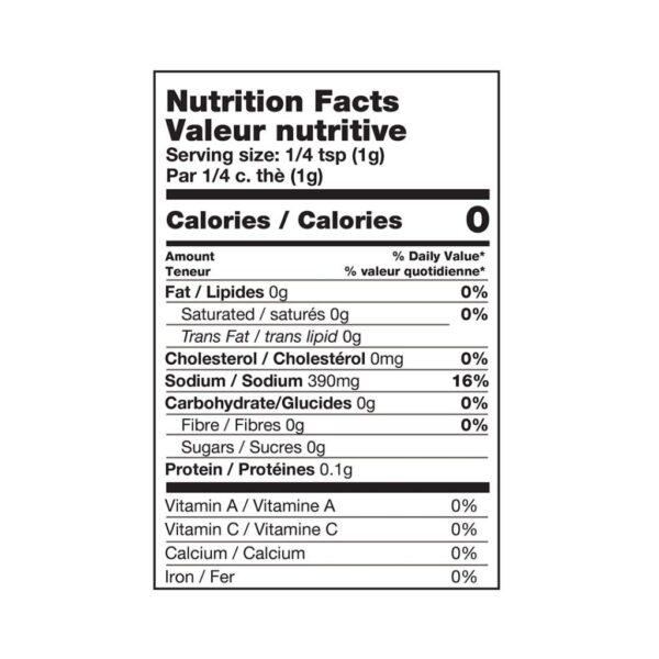 sea salt / fleur de sel nutritional table