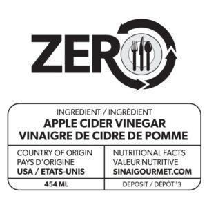 Étiquette de vinaigre de cidre de pomme ZERO