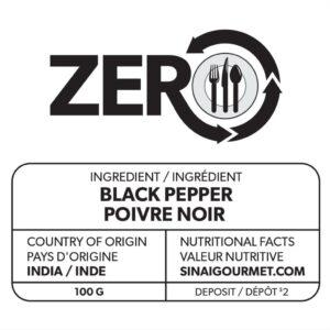 Étiquette de poivre noir ZERO