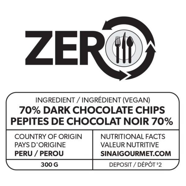 ZERO 70% Dark Vegan Chocolate Label