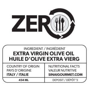 Étiquette d'huile d'olive extra vierge ZERO