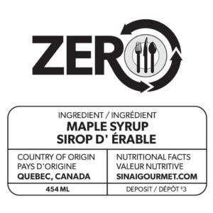 Étiquette de sirop d'érable ZERO